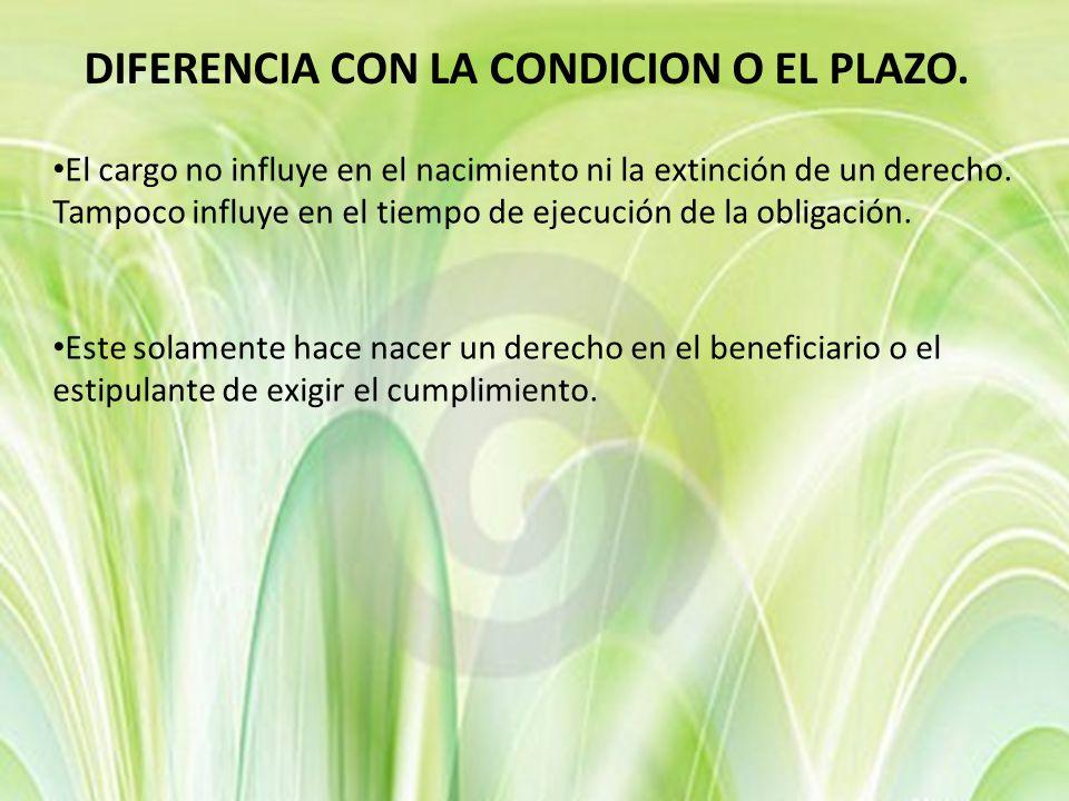 DIFERENCIA CON LA CONDICION O EL PLAZO.