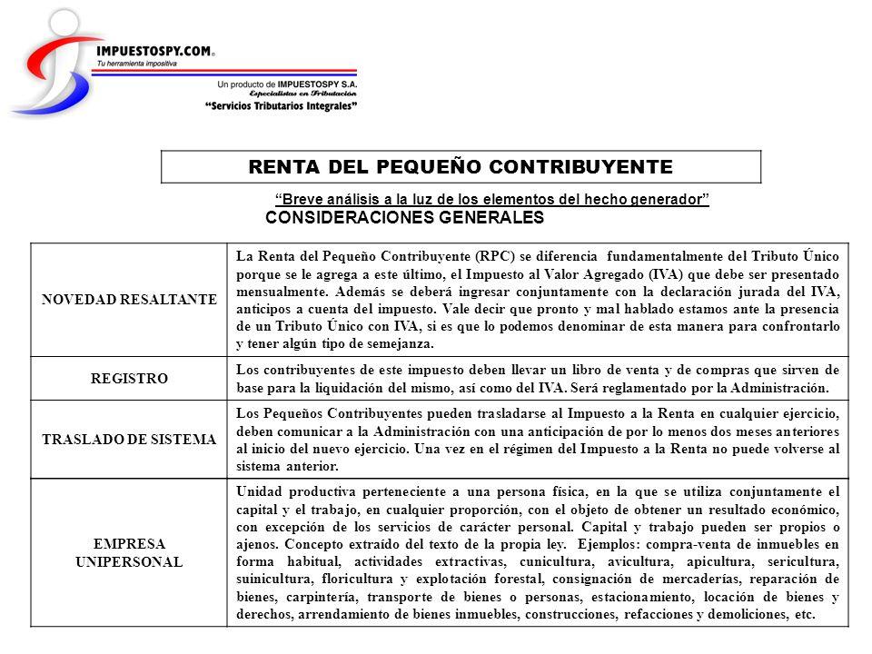 RENTA DEL PEQUEÑO CONTRIBUYENTE