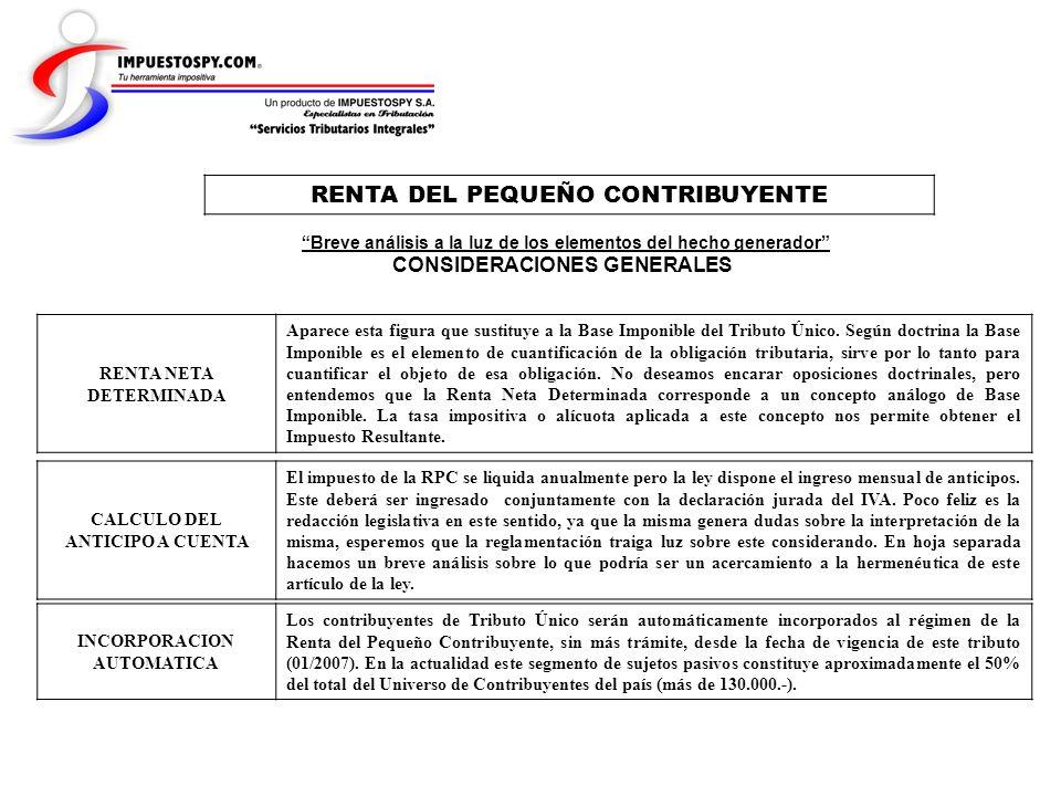 RENTA NETA DETERMINADA INCORPORACION AUTOMATICA