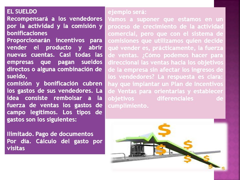 EL SUELDO Recompensará a los vendedores por la actividad y la comisión y bonificaciones.