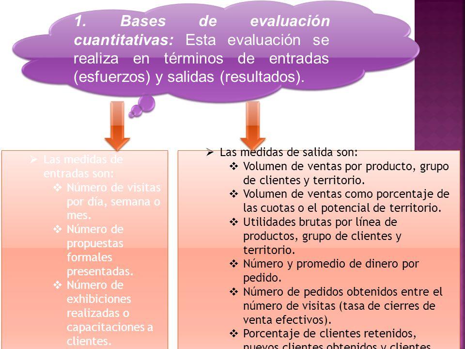 1. Bases de evaluación cuantitativas: Esta evaluación se realiza en términos de entradas (esfuerzos) y salidas (resultados).