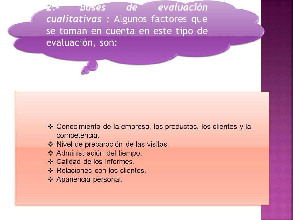 2.- Bases de evaluación cualitativas : Algunos factores que se toman en cuenta en este tipo de evaluación, son: