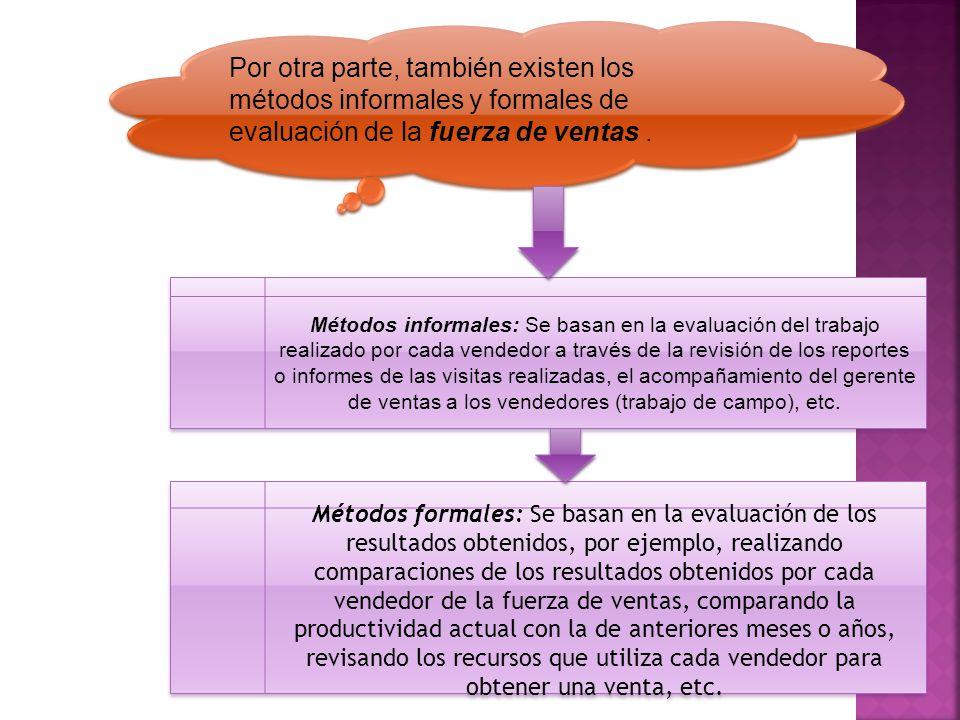 Por otra parte, también existen los métodos informales y formales de evaluación de la fuerza de ventas .