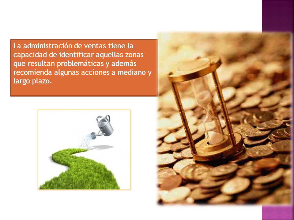 La administración de ventas tiene la capacidad de identificar aquellas zonas que resultan problemáticas y además recomienda algunas acciones a mediano y largo plazo.