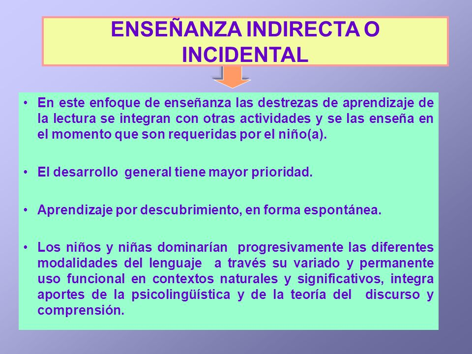 ENSEÑANZA INDIRECTA O INCIDENTAL