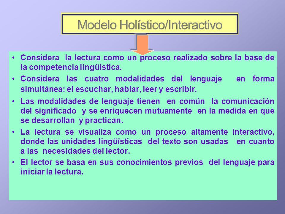 Considera la lectura como un proceso realizado sobre la base de la competencia lingüística.