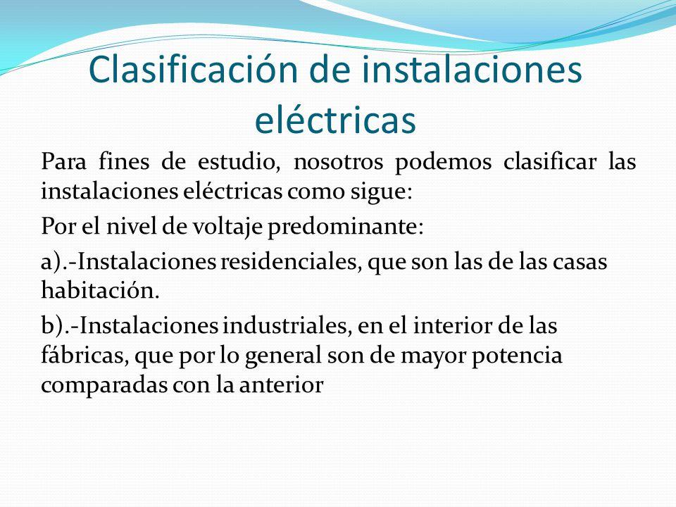 Clasificación de instalaciones eléctricas
