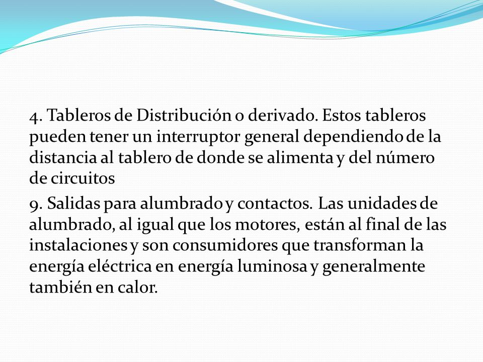 4. Tableros de Distribución o derivado