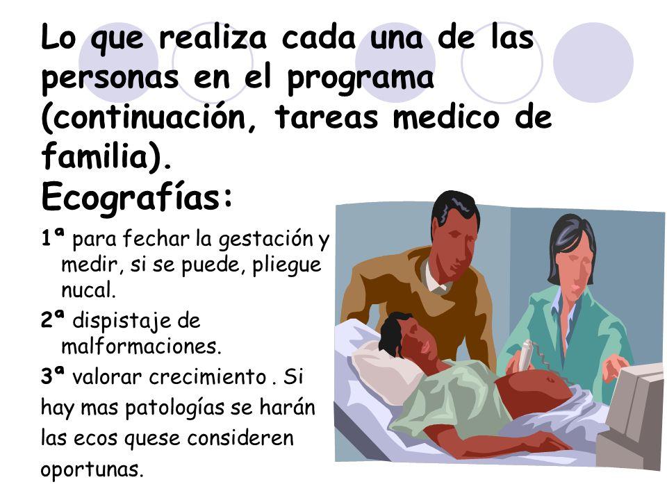 Lo que realiza cada una de las personas en el programa (continuación, tareas medico de familia). Ecografías: