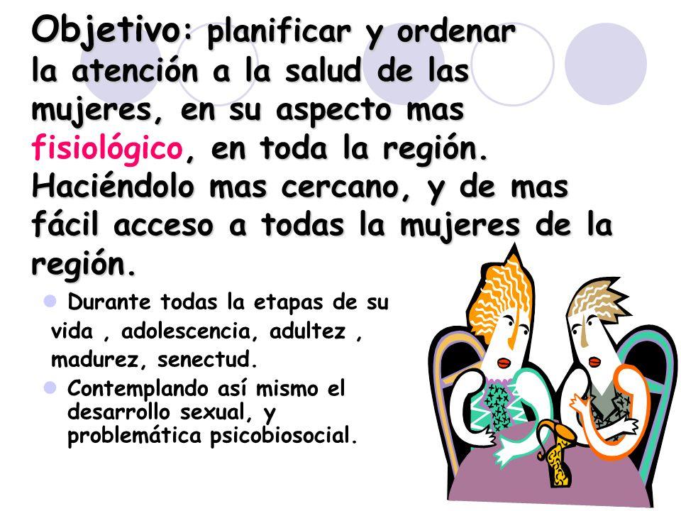 Objetivo: planificar y ordenar la atención a la salud de las mujeres, en su aspecto mas fisiológico, en toda la región. Haciéndolo mas cercano, y de mas fácil acceso a todas la mujeres de la región.
