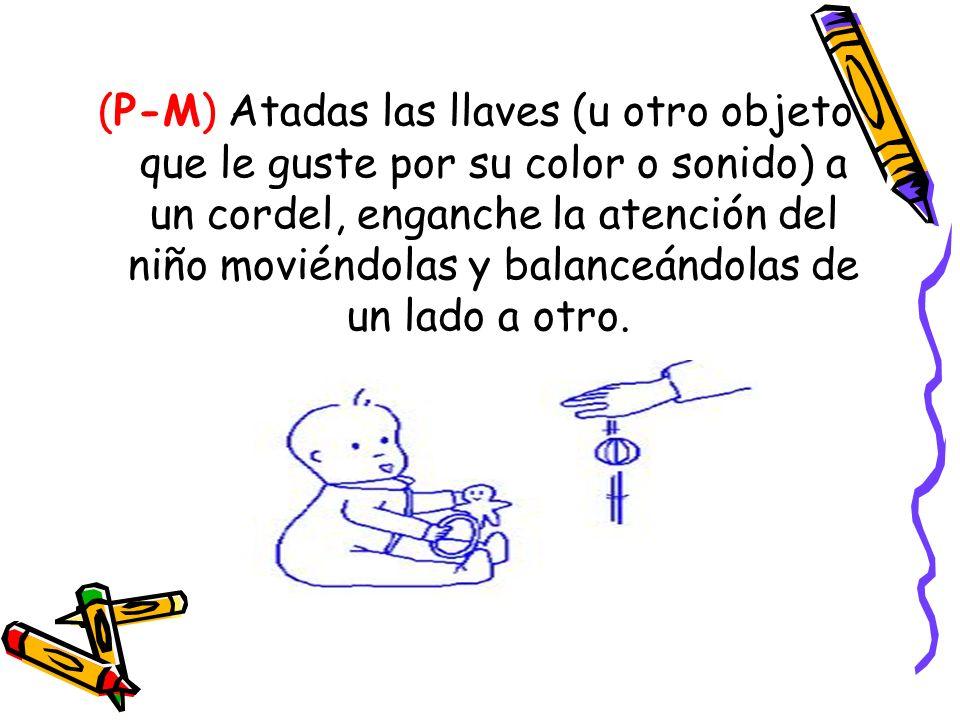 (P-M) Atadas las llaves (u otro objeto que le guste por su color o sonido) a un cordel, enganche la atención del niño moviéndolas y balanceándolas de un lado a otro.