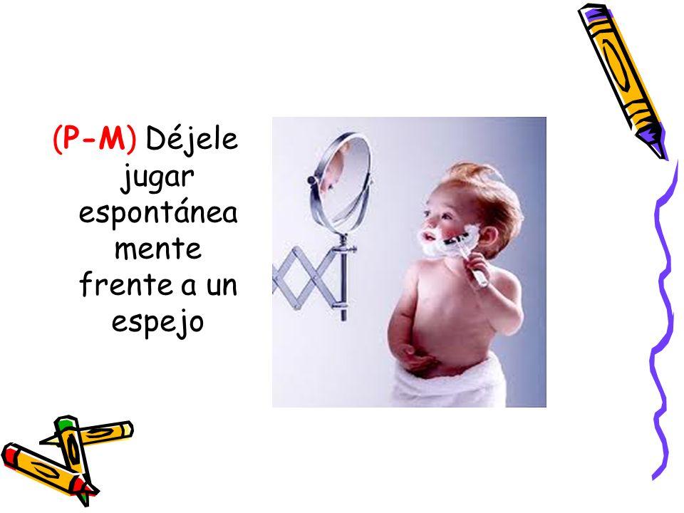 (P-M) Déjele jugar espontáneamente frente a un espejo