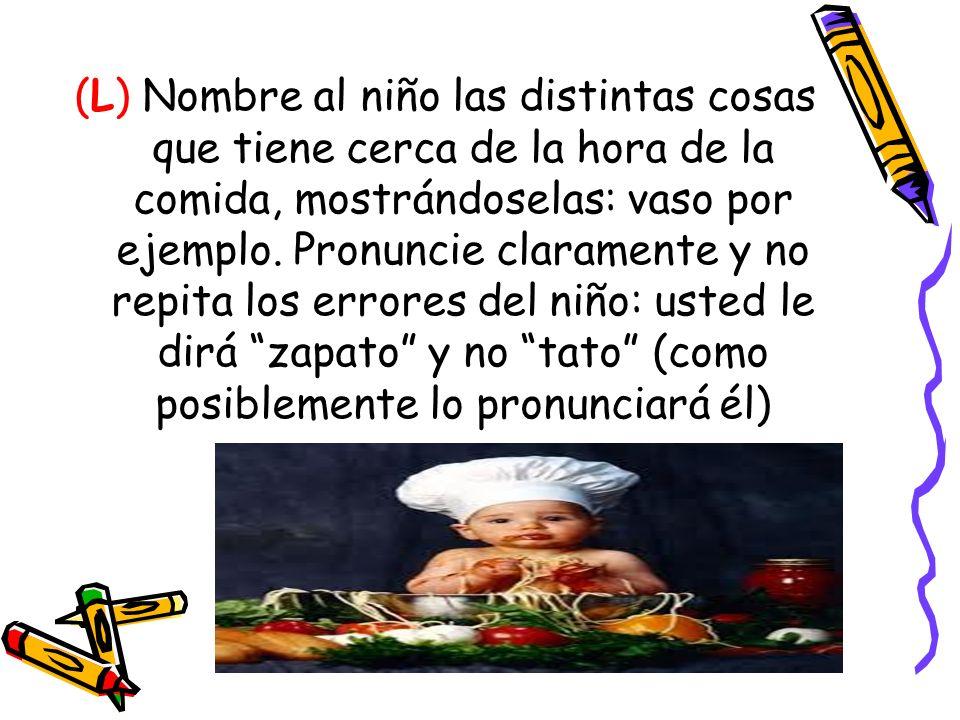 (L) Nombre al niño las distintas cosas que tiene cerca de la hora de la comida, mostrándoselas: vaso por ejemplo.