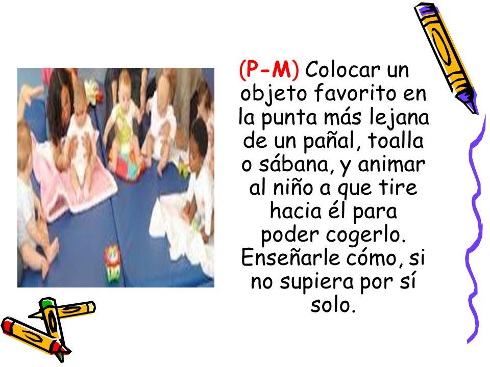(P-M) Colocar un objeto favorito en la punta más lejana de un pañal, toalla o sábana, y animar al niño a que tire hacia él para poder cogerlo.