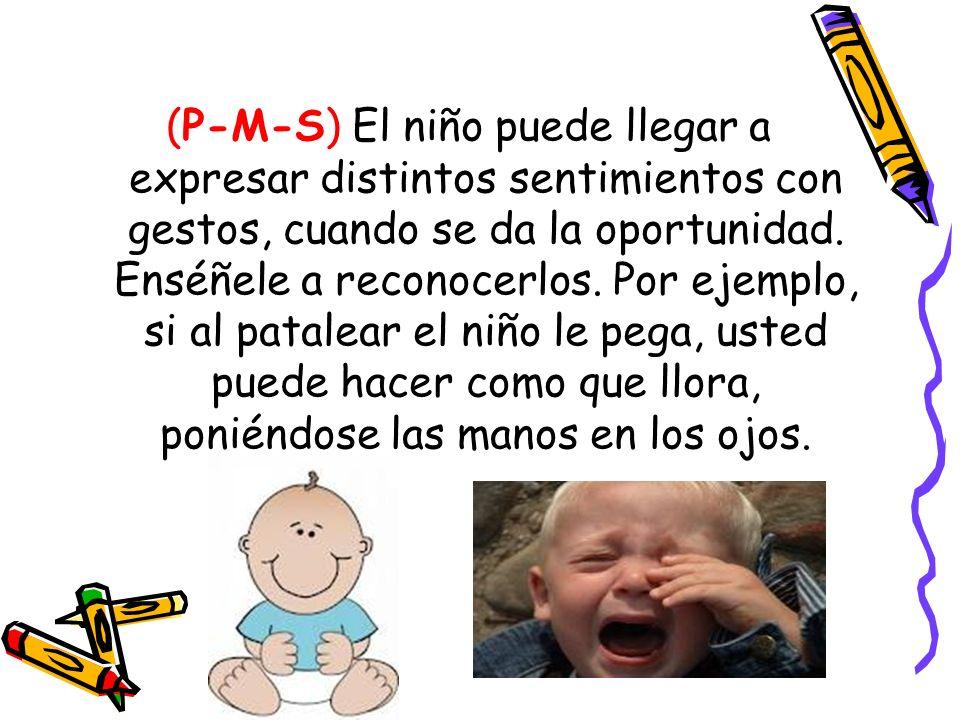 (P-M-S) El niño puede llegar a expresar distintos sentimientos con gestos, cuando se da la oportunidad.