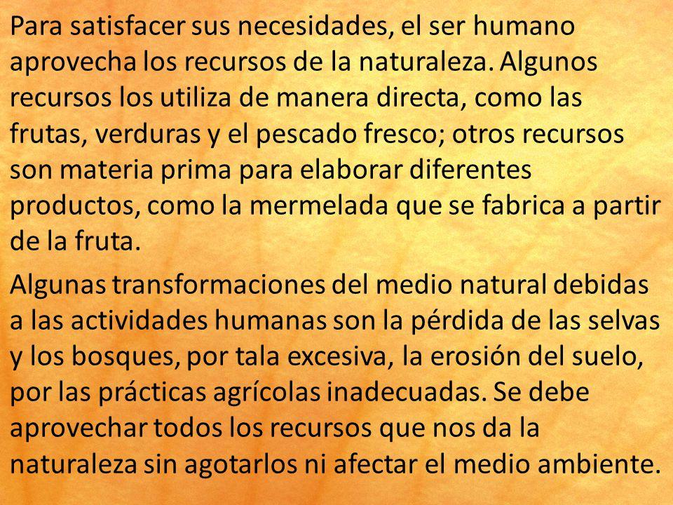 Para satisfacer sus necesidades, el ser humano aprovecha los recursos de la naturaleza.