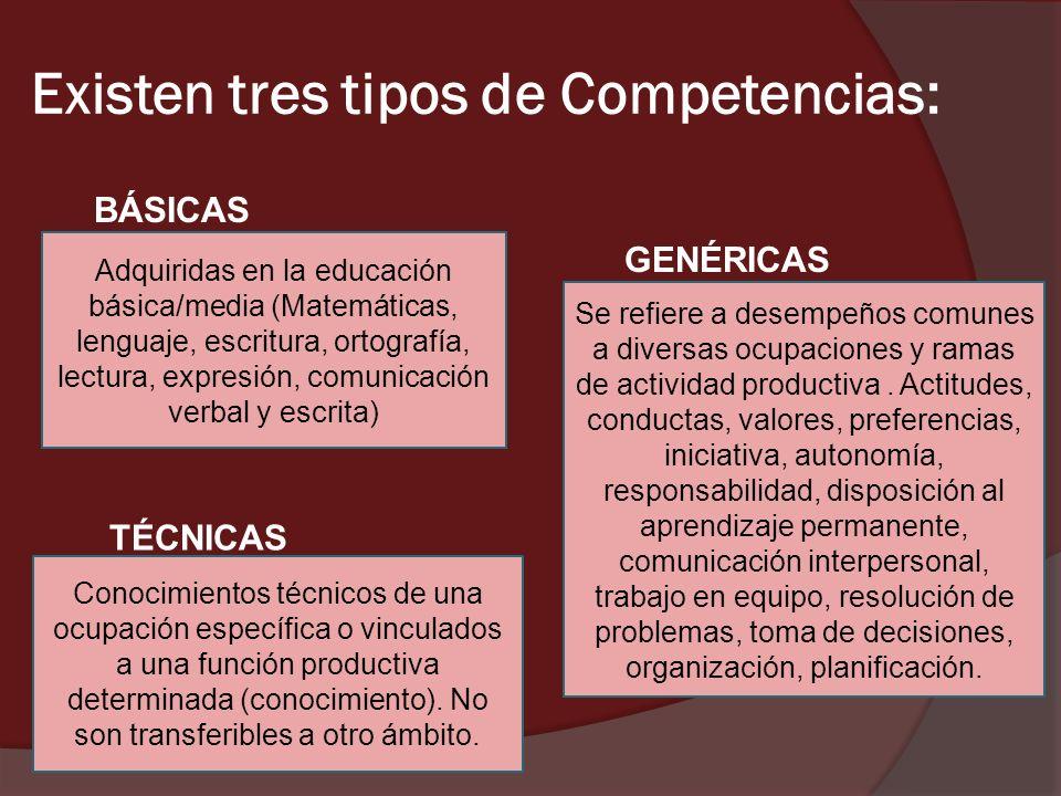 Existen tres tipos de Competencias: