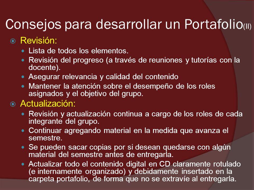 Consejos para desarrollar un Portafolio(II)