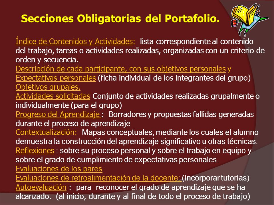 Secciones Obligatorias del Portafolio.