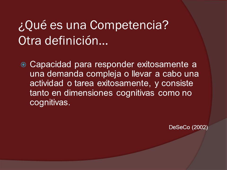 ¿Qué es una Competencia Otra definición…