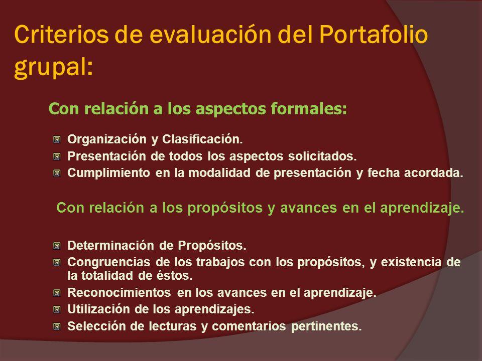 Criterios de evaluación del Portafolio grupal: