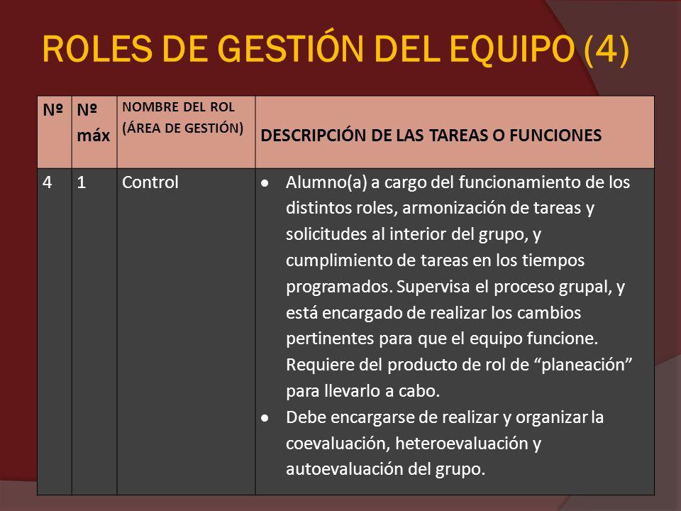 ROLES DE GESTIÓN DEL EQUIPO (4)