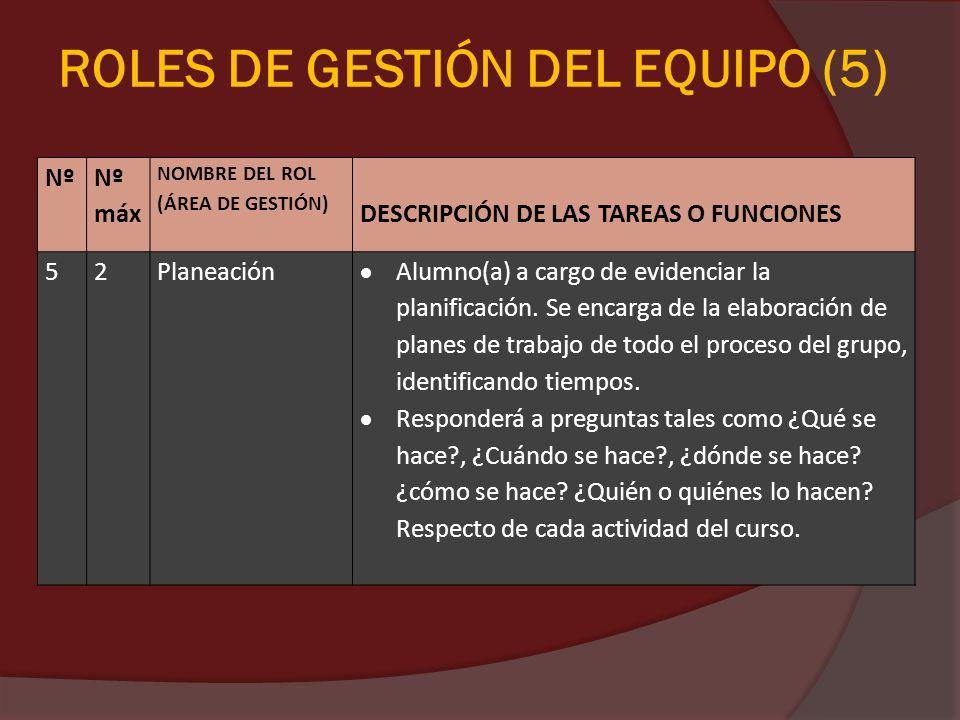 ROLES DE GESTIÓN DEL EQUIPO (5)