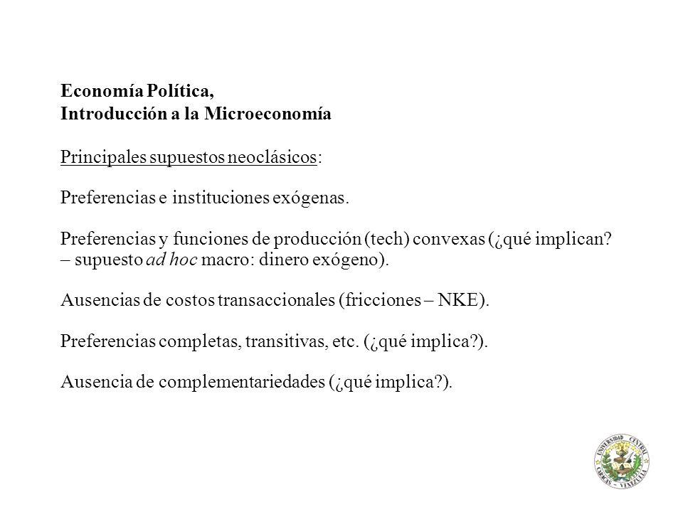 Economía Política, Introducción a la Microeconomía. Principales supuestos neoclásicos: Preferencias e instituciones exógenas.
