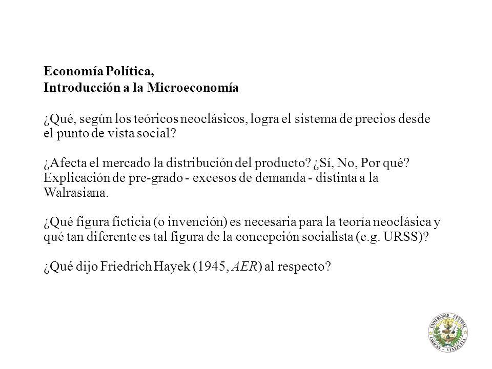Economía Política, Introducción a la Microeconomía.