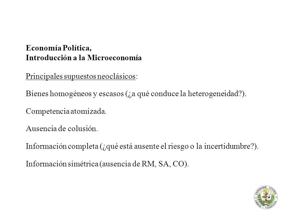 Economía Política, Introducción a la Microeconomía. Principales supuestos neoclásicos: