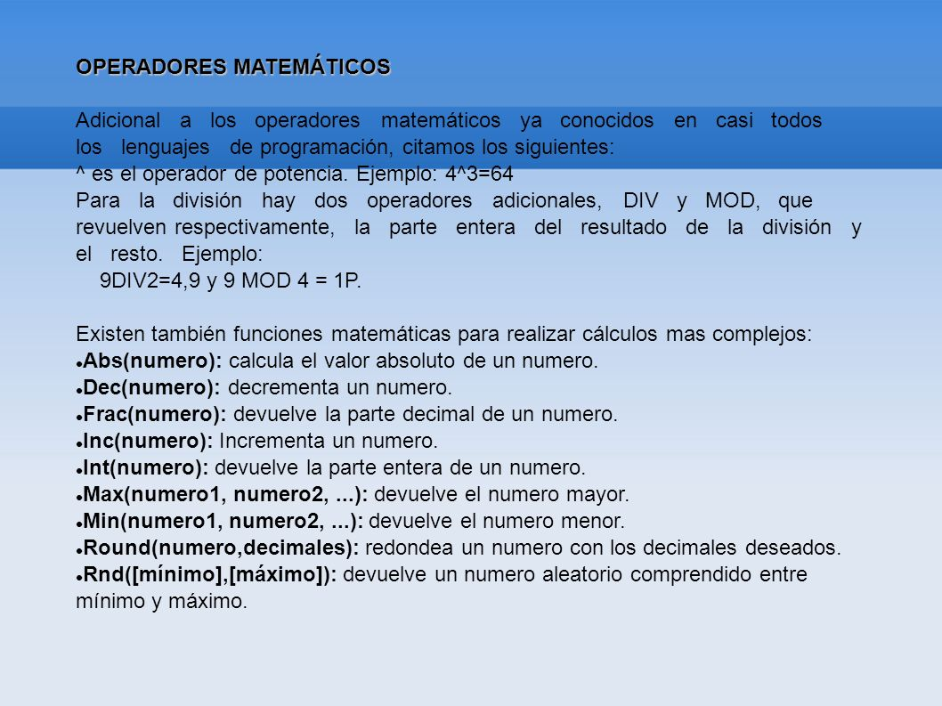 OPERADORES MATEMÁTICOS