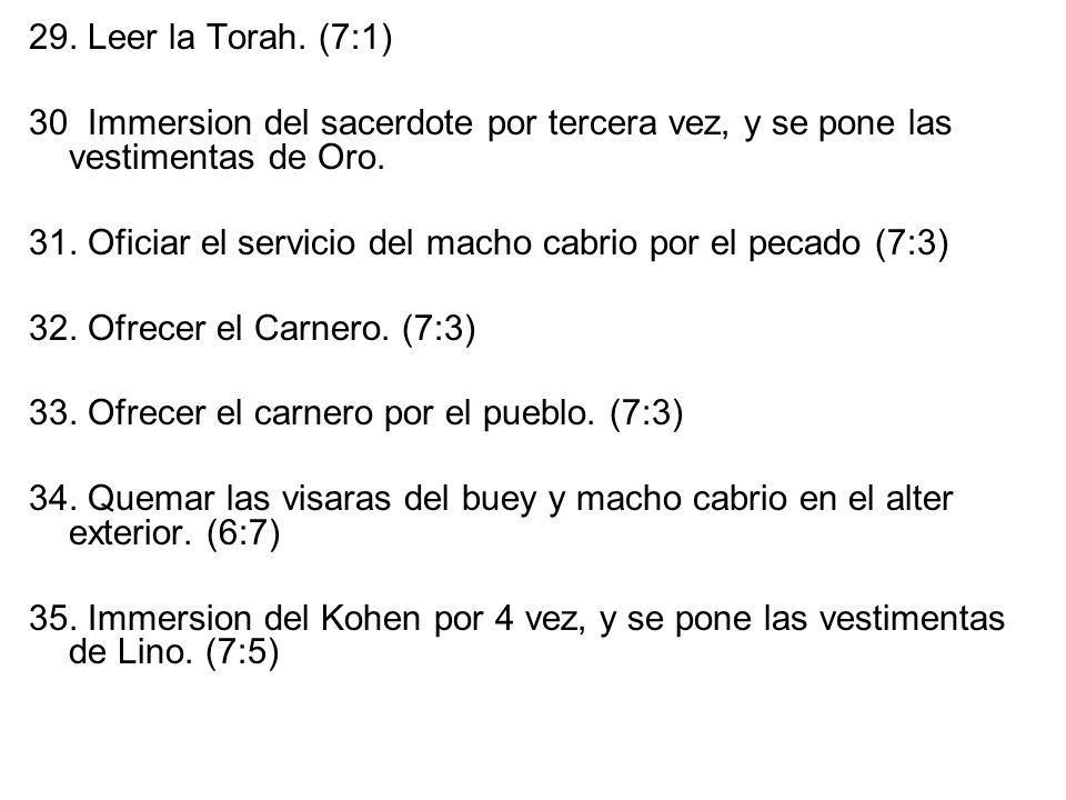 29. Leer la Torah. (7:1) 30 Immersion del sacerdote por tercera vez, y se pone las vestimentas de Oro.