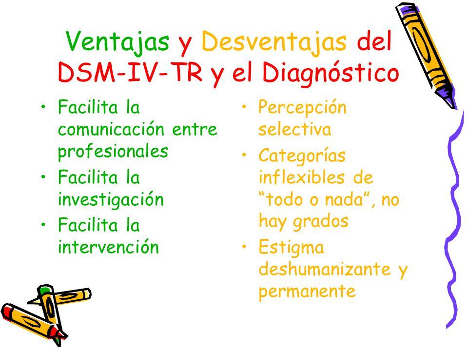 Ventajas y Desventajas del DSM-IV-TR y el Diagnóstico