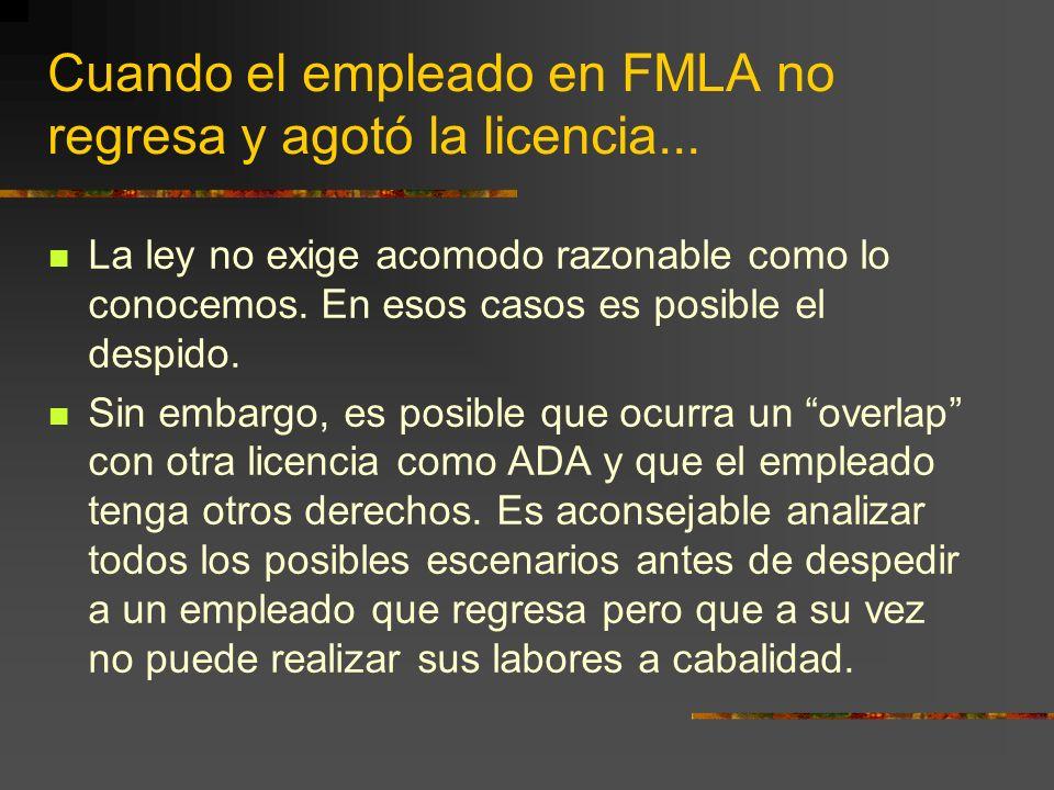 Cuando el empleado en FMLA no regresa y agotó la licencia...