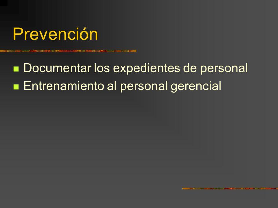 Prevención Documentar los expedientes de personal
