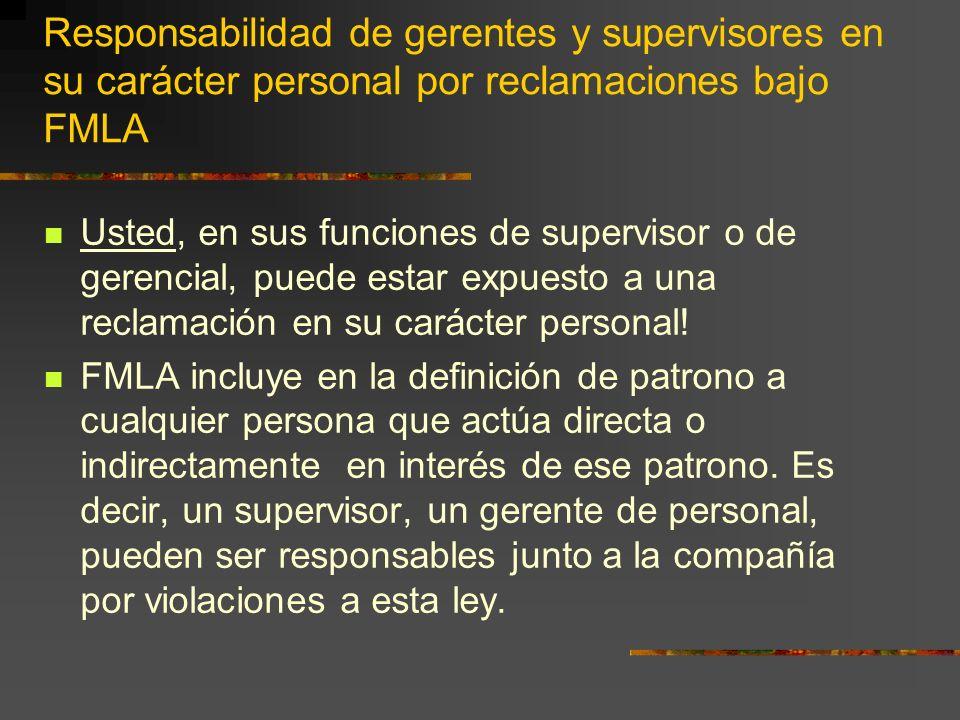 Responsabilidad de gerentes y supervisores en su carácter personal por reclamaciones bajo FMLA