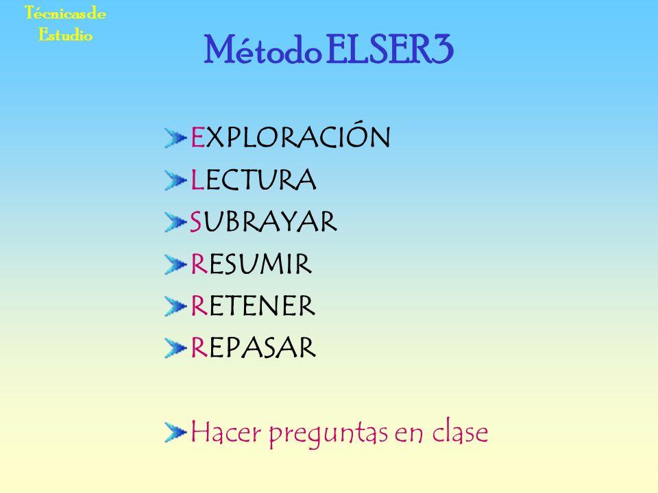 Método ELSER3 EXPLORACIÓN LECTURA SUBRAYAR RESUMIR RETENER REPASAR