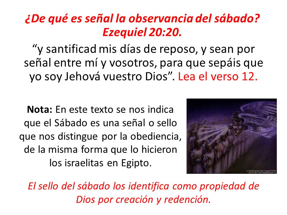 ¿De qué es señal la observancia del sábado. Ezequiel 20:20