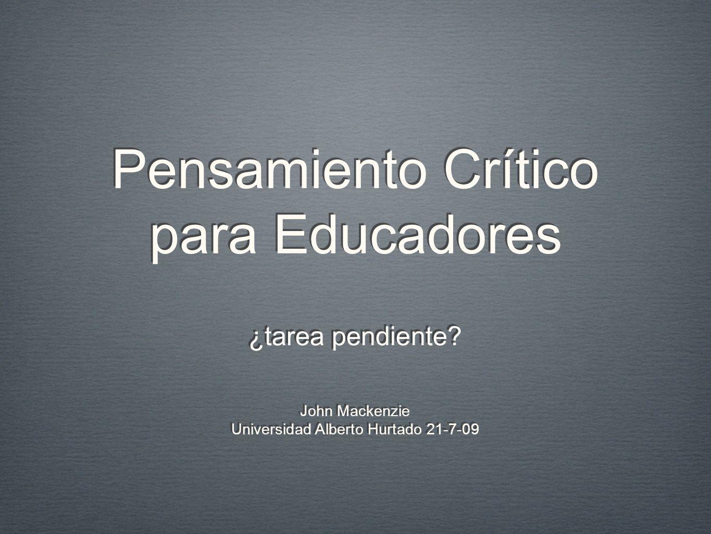 Pensamiento Crítico para Educadores