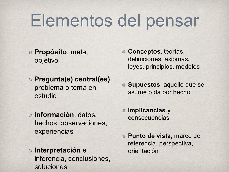 Elementos del pensar Propósito, meta, objetivo