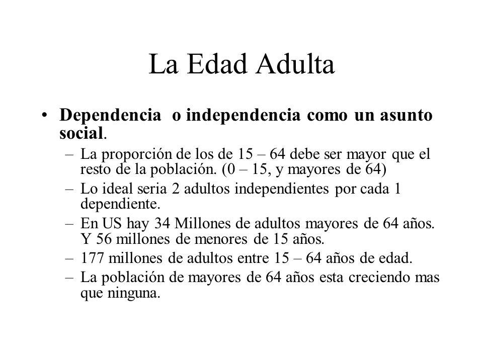 La Edad Adulta Dependencia o independencia como un asunto social.