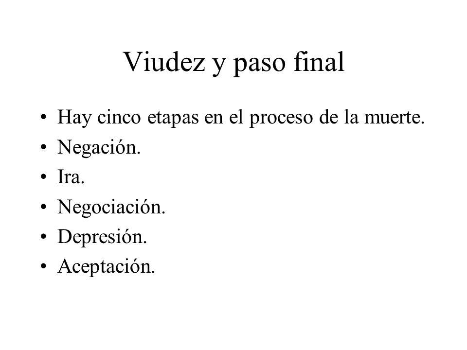 Viudez y paso final Hay cinco etapas en el proceso de la muerte.