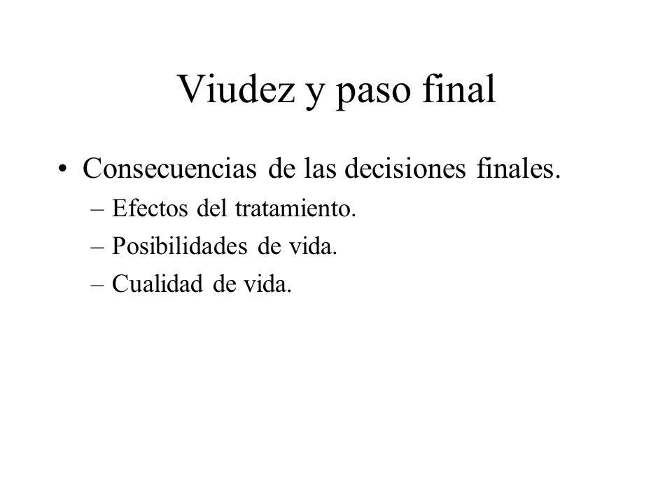 Viudez y paso final Consecuencias de las decisiones finales.