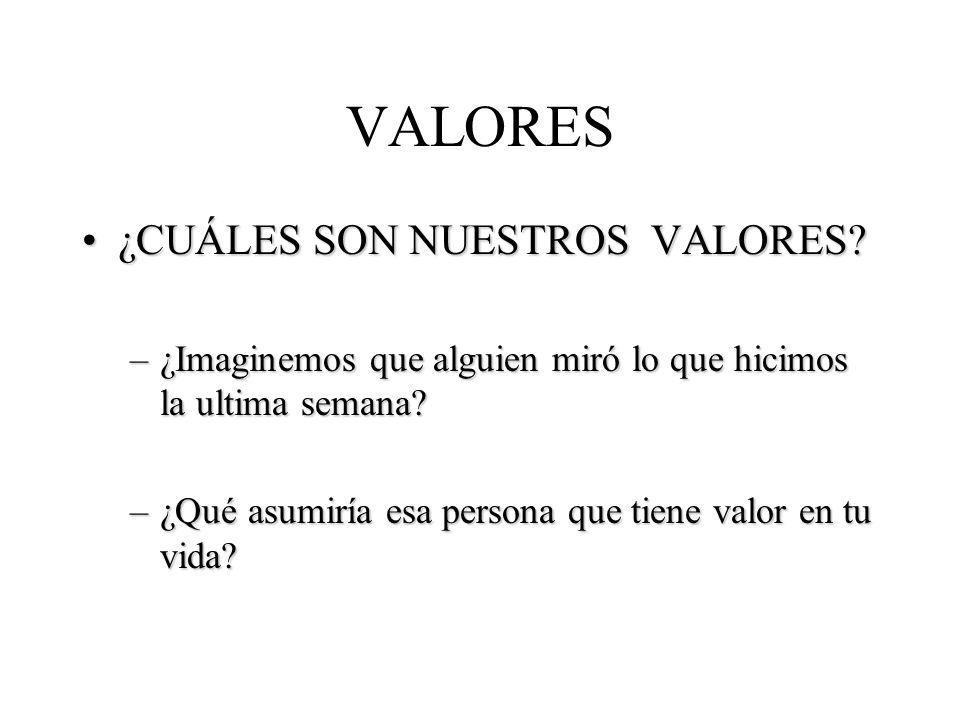 VALORES ¿CUÁLES SON NUESTROS VALORES
