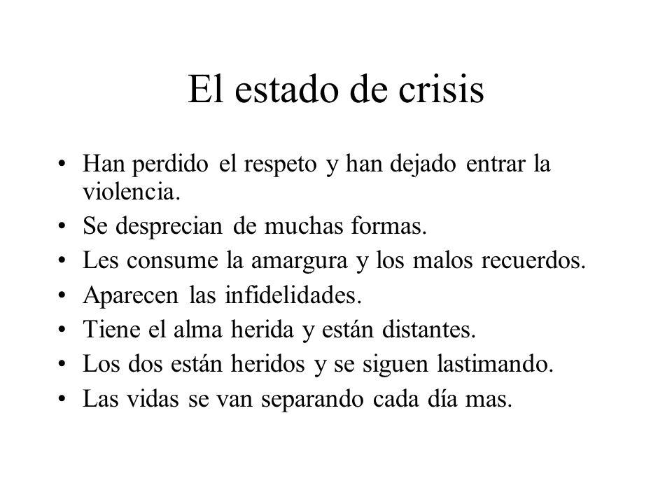 El estado de crisis Han perdido el respeto y han dejado entrar la violencia. Se desprecian de muchas formas.