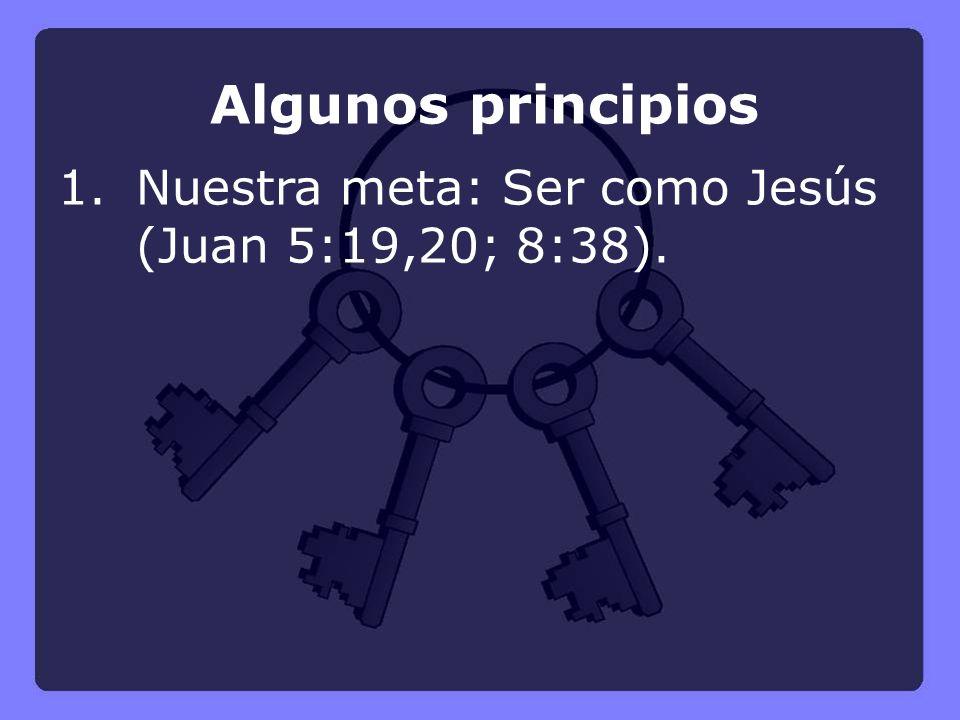 Algunos principios 1. Nuestra meta: Ser como Jesús (Juan 5:19,20; 8:38).