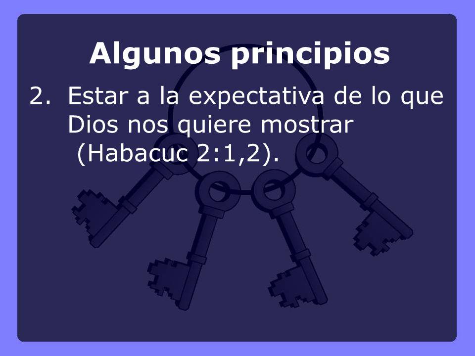 Algunos principios 2. Estar a la expectativa de lo que Dios nos quiere mostrar (Habacuc 2:1,2).