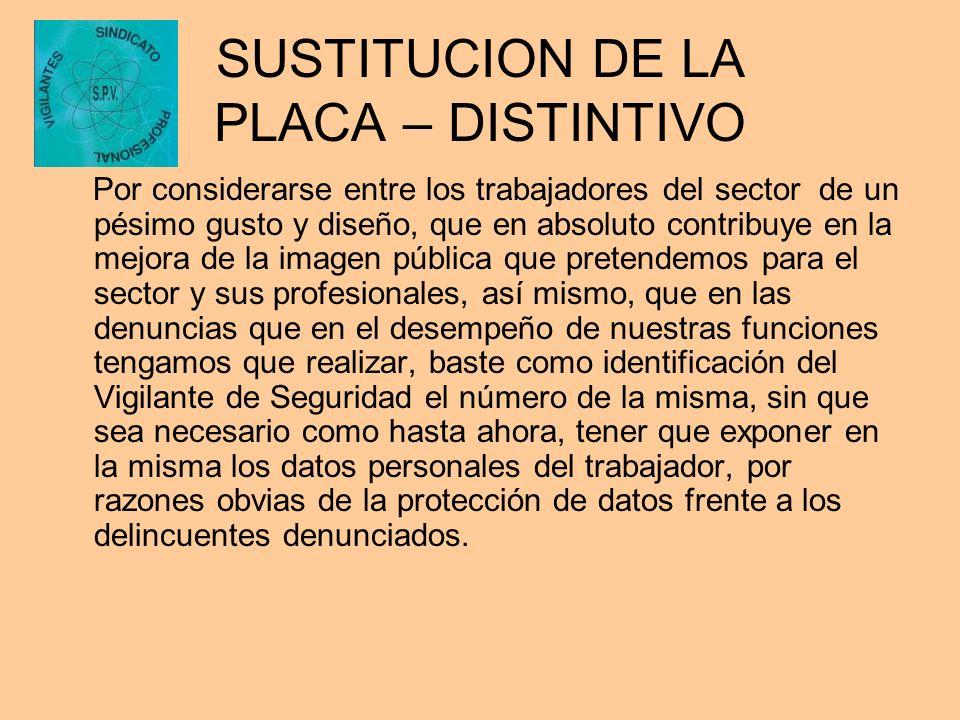 SUSTITUCION DE LA PLACA – DISTINTIVO