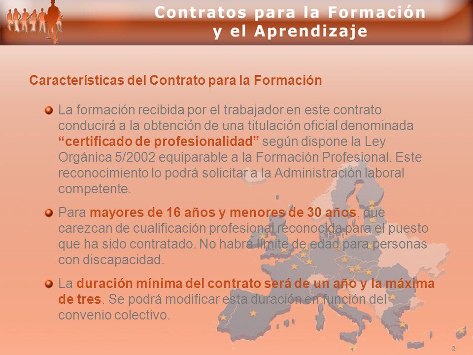 Características del Contrato para la Formación