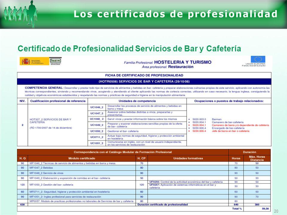 Certificado de Profesionalidad Servicios de Bar y Cafetería